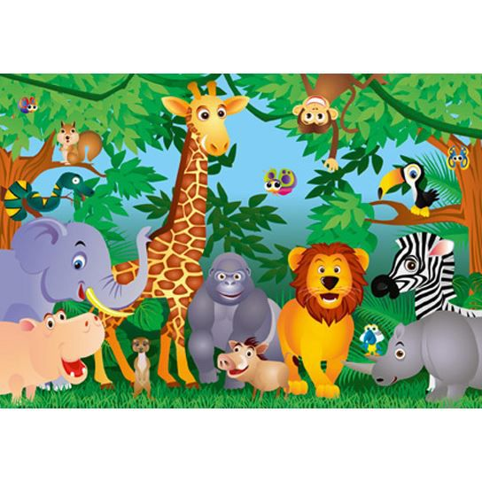 poster mural g ant animaux de la jungle 366 x achat vente affiche poster soldes d s. Black Bedroom Furniture Sets. Home Design Ideas
