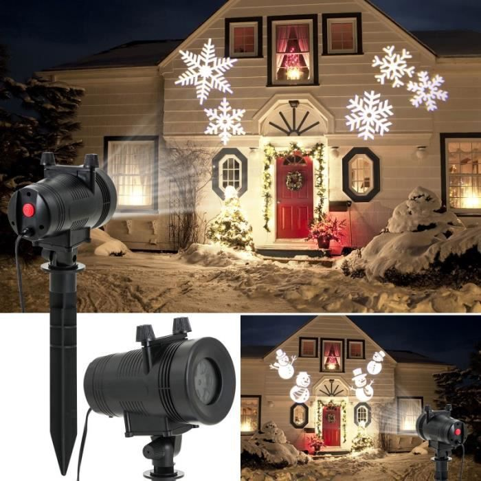 Projecteur led motifs de no l blancs d co pour fa ade achat vente projecteur laser no l for Projecteur deco