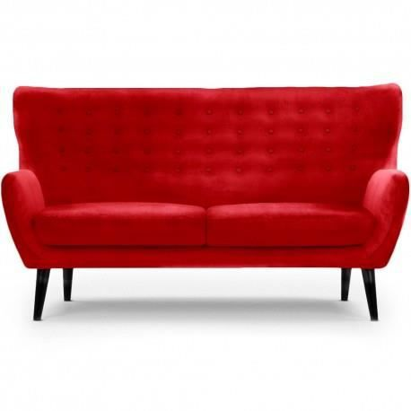 Canap velours scandinave oscar rouge 3 places achat vente canap sofa - Canape rouge 3 places ...