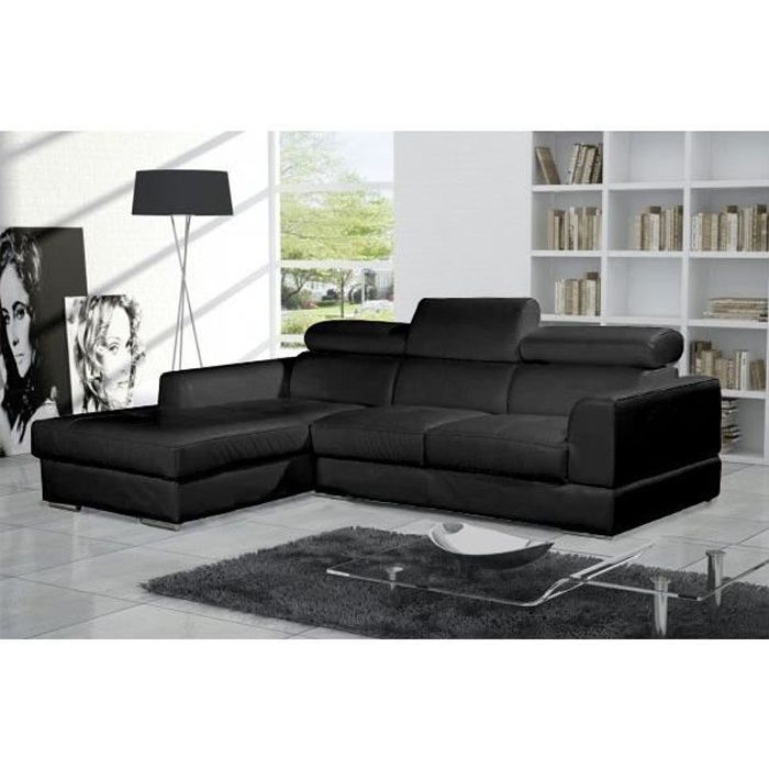 canap d 39 angle moderne neto noir cuir pas cher achat vente canap sofa divan cuir. Black Bedroom Furniture Sets. Home Design Ideas