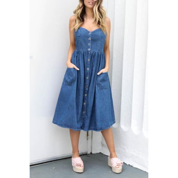 Robe Jean Femme Longue A Fines Bretelles En Bleu Bleu Achat Vente Robe Cdiscount