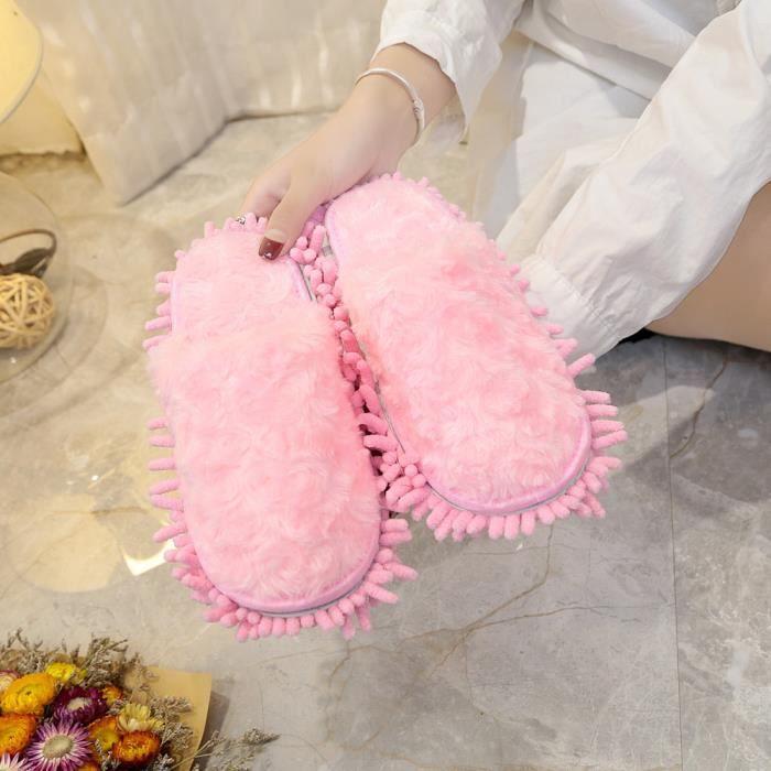SLIP-ON Femmes femmes Fluffy fausse fourrure plat Slipper