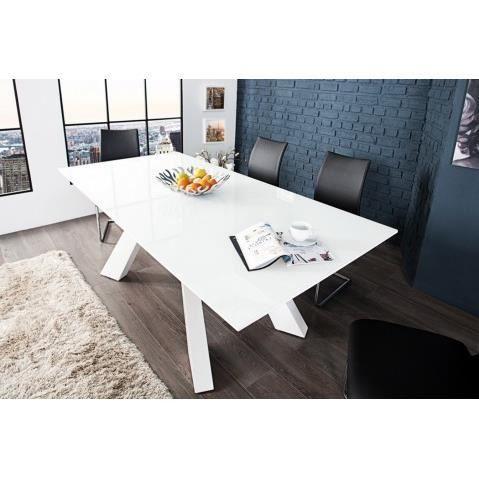 cm blanc a et laque 200 Table verre design Xerces manger USzpLVGqM