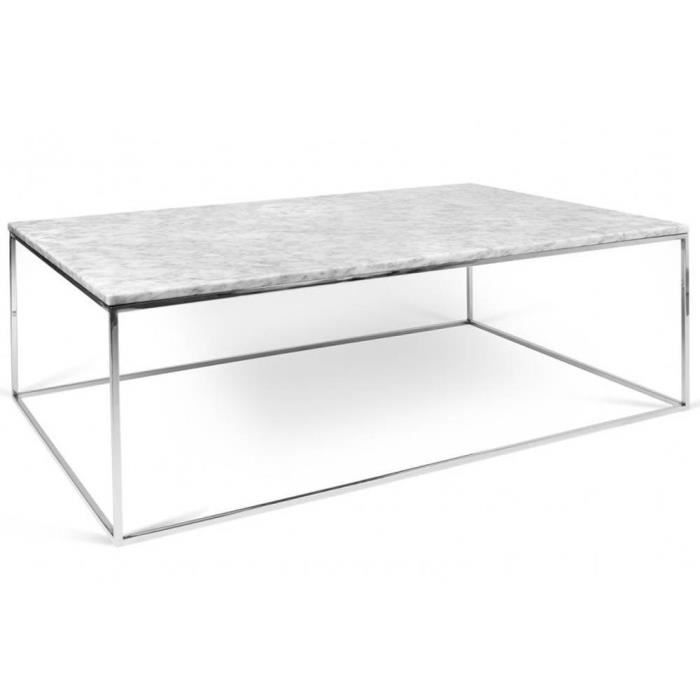 Tema home table basse rectangulaire gleam 120 plateau en marbre blanc structure chrom e achat - Table marbre rectangulaire ...
