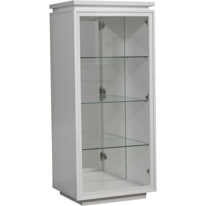 buzz vitrine avec clairage laqu blanc achat vente. Black Bedroom Furniture Sets. Home Design Ideas