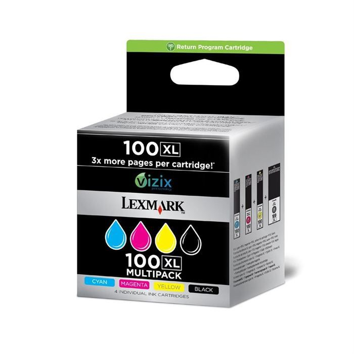 lexmark cartouches n 100xl b c m j pack couleurs achat. Black Bedroom Furniture Sets. Home Design Ideas
