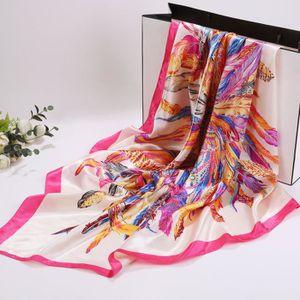 ECHARPE - FOULARD Women Neckerchief Square Scarf Feather Printed Hea