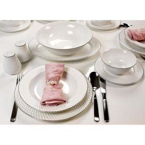 SERVICE COMPLET Service de table en porcelaine 28 pièces rond effe