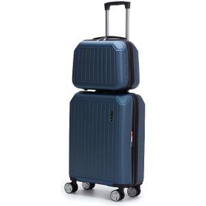 SET DE VALISES LYS - set de 2 Valise Cabine bleu 55cm Rigide 8 Ro