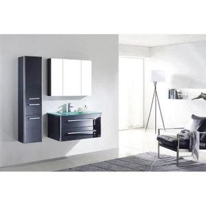 SALLE DE BAIN COMPLETE Meuble salle de bain simple vasque en verre bois m