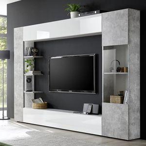 MEUBLE TV Meuble tv mural blanc et béton SOPRANO 2 L 257 x P