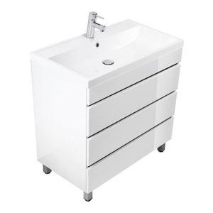 SALLE DE BAIN COMPLETE Meuble salle de bain Via 80 blanc brillant à poser
