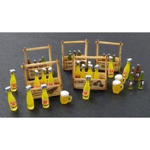 ACCESSOIRE MAQUETTE 5 caisses avec bouteilles de sodas et verres minia