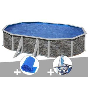 PISCINE Kit piscine acier aspect pierre Gré Cerdeña ovale