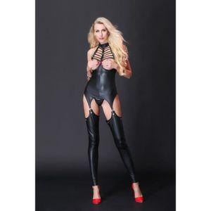 ENSEMBLE DE LINGERIE Combinaisons de cuir femmes sexy Combinaison busti
