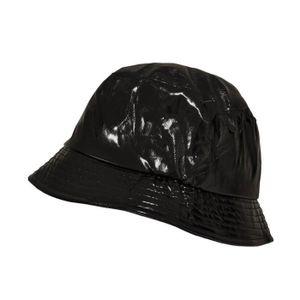 Réglable Étanche Seau pluie chapeau en nylon noir. TOUTACOO