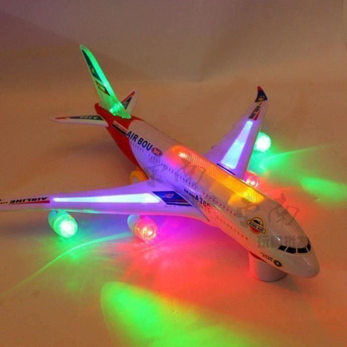 avion modèle d'airbus A380 jouets pour enfants 40x50cm à piles musique Lumières sur les feux de navigation