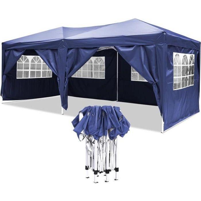 Tonnelle pliant imperméable de jardin, Tente de reception 3 x 6m, Tonnelle - barnum, Chapiteau, Pavillon - Bleu