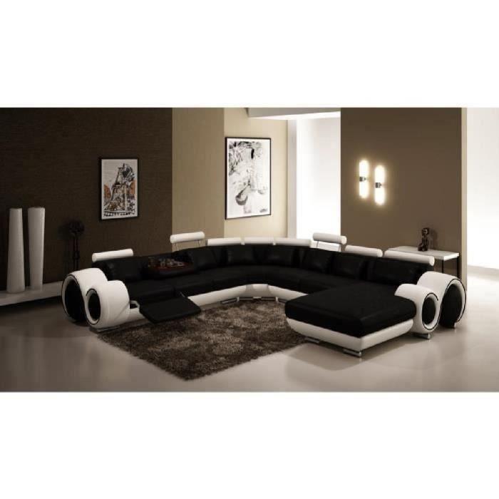 Canapé d'angle panoramique cuir noir et blanc relax LORY
