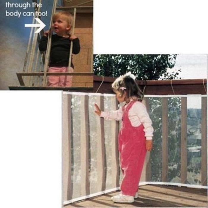 3 mètre Filet de Protection Escalier pour Bébé et Enfant, Filet de Sécurité Balcon Barrière, Solide et robuste