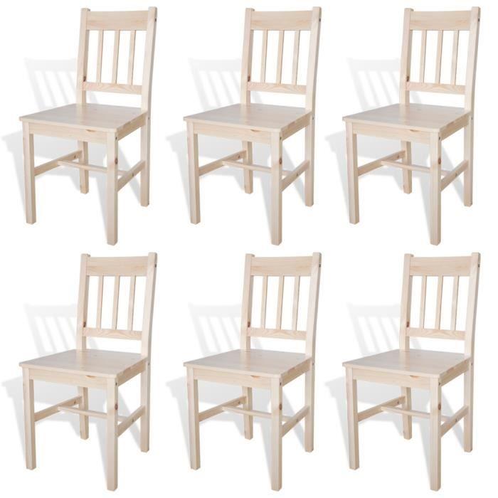Lot de 6 chaises Thomas en bois naturel -