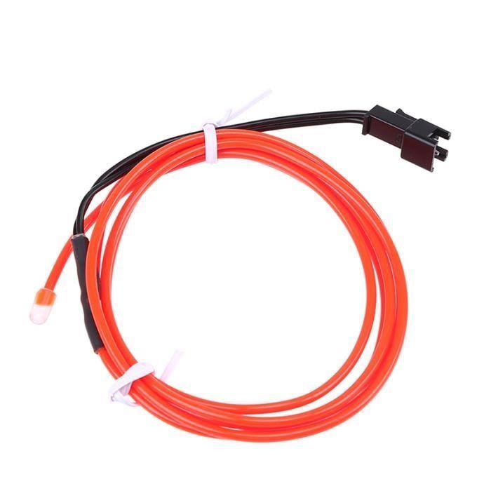 Red Orange 1 meter light strip -1 ~ 5M néon lumière LED lueur EL fil chaîne bande corde Tube lumière voiture intérieur atmosphère dé