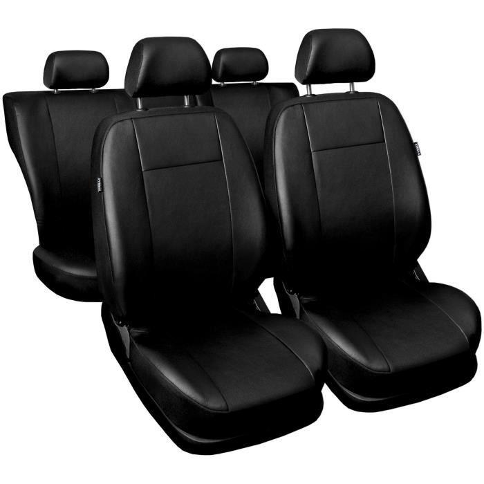 Housse De Siège pour Renault Clio II III IV Comfort - Noir - Eco-cuir - Set complet