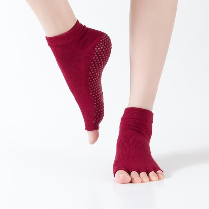 Accessoires Fitness - Musculation,Thunshion 3 paires femmes Yoga ouvert orteils chaussettes Massage antidérapant - Type Dark Red