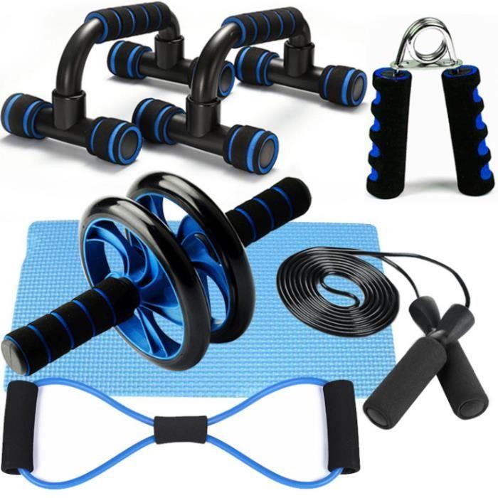 6en1 Appareils Fitness Kit avec Roue Abdominale,Bandes Résistance,Corde à Sauter, Poignées de Pompe,Pince à Main,Tapis pour Genou