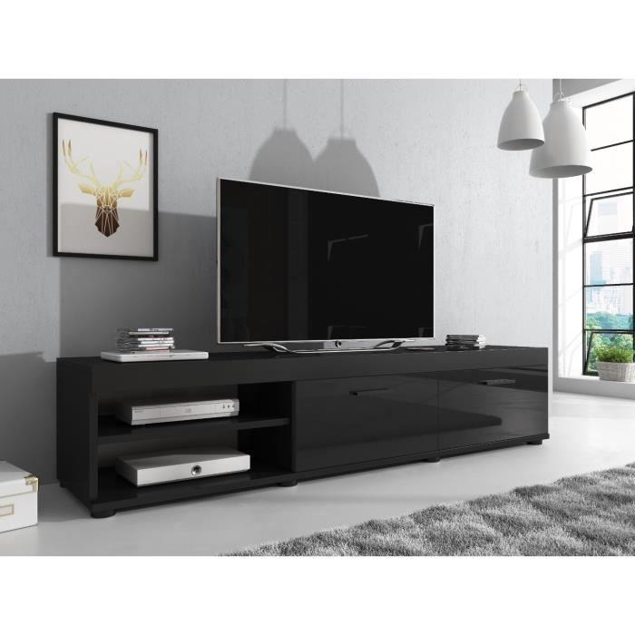 E-com AVA Meuble TV, Bois, Noir, 180 cm