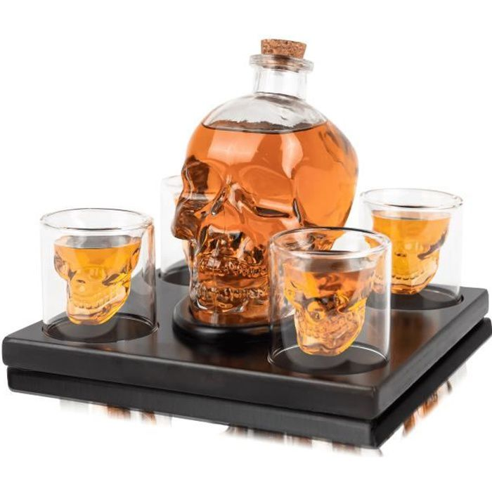 Whisiskey® Carafe Whisky - Tête de Mort - 900 ml - 4 Verre à Whisky, 4 Pierre à Whisky et Bec Verseur - Crâne - Cadeau Homme - Vin