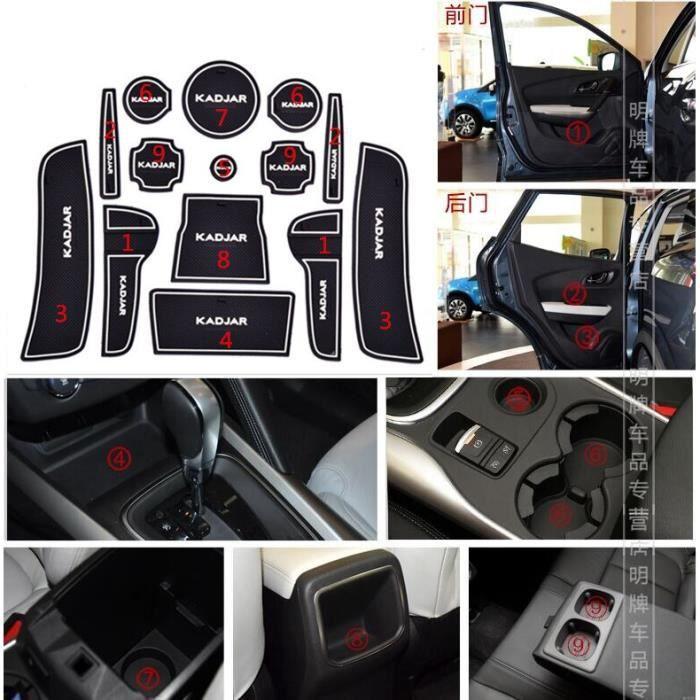 Décoration Véhicule,Housse de porte antidérapante pour Renault KADJAR, en gel de silice, pour tasse, accessoires, GR - Type 2 white