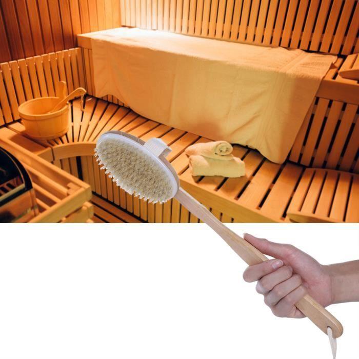 EBTOOLS brosse de bain de luxe à manche long Brosse de sauna naturelle à long manche Brosse de bain Deluxe Accessoires de sauna