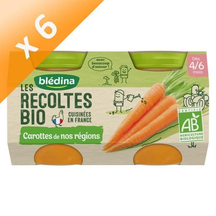 [LOT DE 6] BLEDINA Petits pots Carottes de nos régions Les récoltes Bio - Dès 4 mois - 2 x 130 g