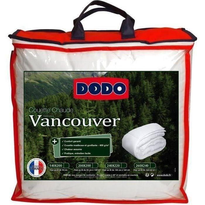 DODO Couette chaude 400gr/m² VANCOUVER 220x240 cm blanc