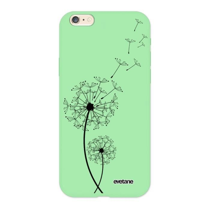 Coque iPhone 6/6S Silicone Liquide Douce vert pâle Pissenlit Ecriture Tendance et Design Evetane.