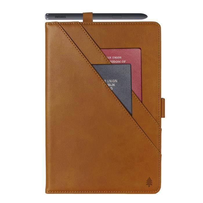etui pour iPad Pro 12.9 2021 Housse de support en cuir de qualité véritable avec réveil-sommeil activé - Café