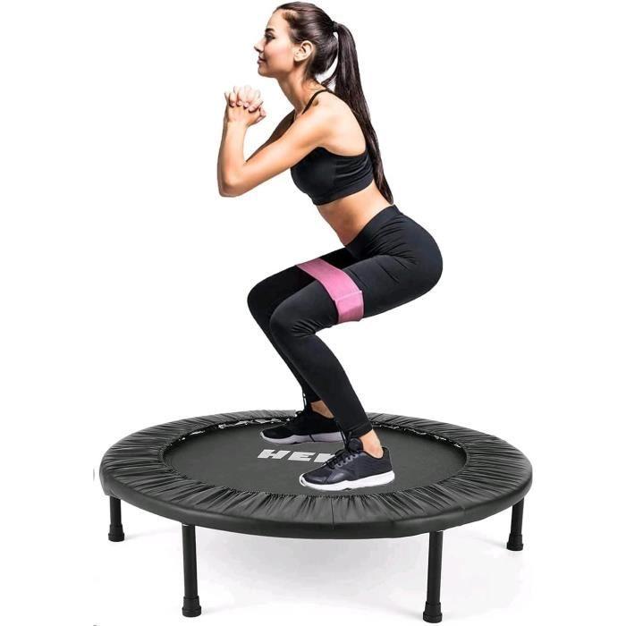 Trampolines de Fitness Pliable Rond Ø 96cm, Trampoline d'exercice Exterieur/Interieur pour Adulte et Enfant, Maximale 150kg, Noir
