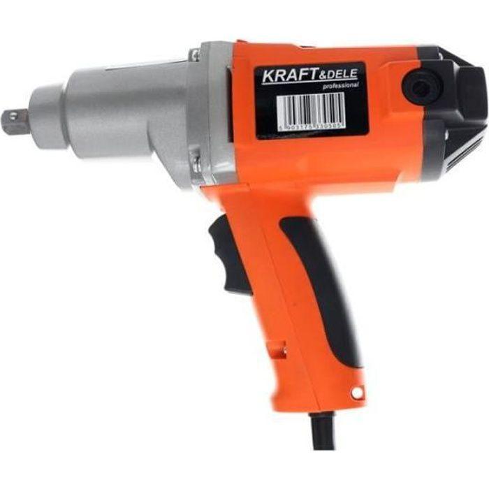 DCRAFT - Clé à chocs électrique 1-2- 800 Nm - Vitesse 2300 rpm - Boulonneuse - Livré avec embouts: 17-19-21-22 mm