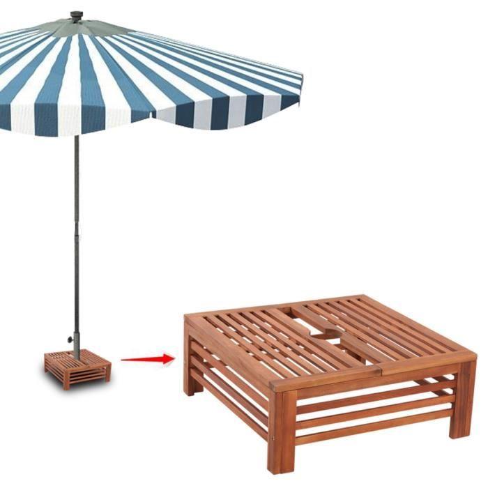 Table d'Appoint en Bois pour pied de Parasol pour jardin espace extérieur stable durable Haute qualité