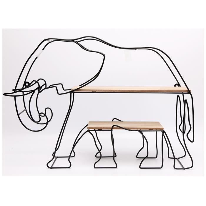 Etagère désign métal bois 'Elephant' union jack - 54x38x10 cm [A0022]