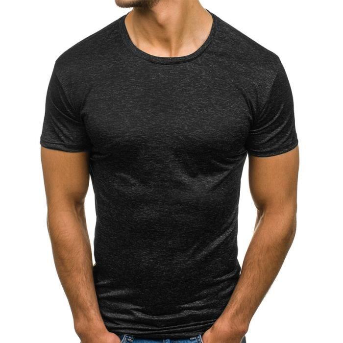 T Shirt Homme uni t-shirt slim fit homme T-shirt de fitness Tee Shirt Hommes de sport
