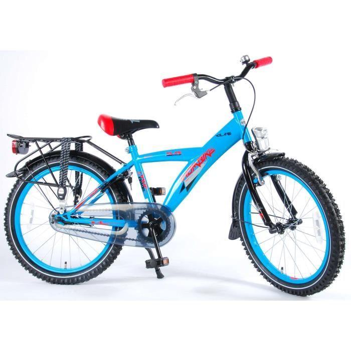 Thombike Vélo Enfants Garçon 20 Pouces City Frein Avant sur Le Guidon et Le Frein Arrière à Rétropédalage Bleu Rouge Assemblé à 95%