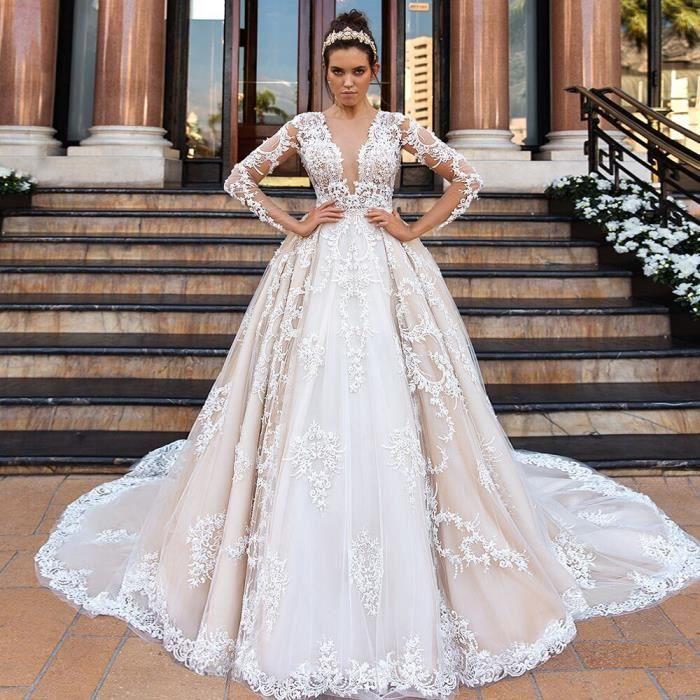 Robes de mariée princesse en dentelle avec appliques et perlage, manches longues, taille plus, aliexpress login robe de mariée p