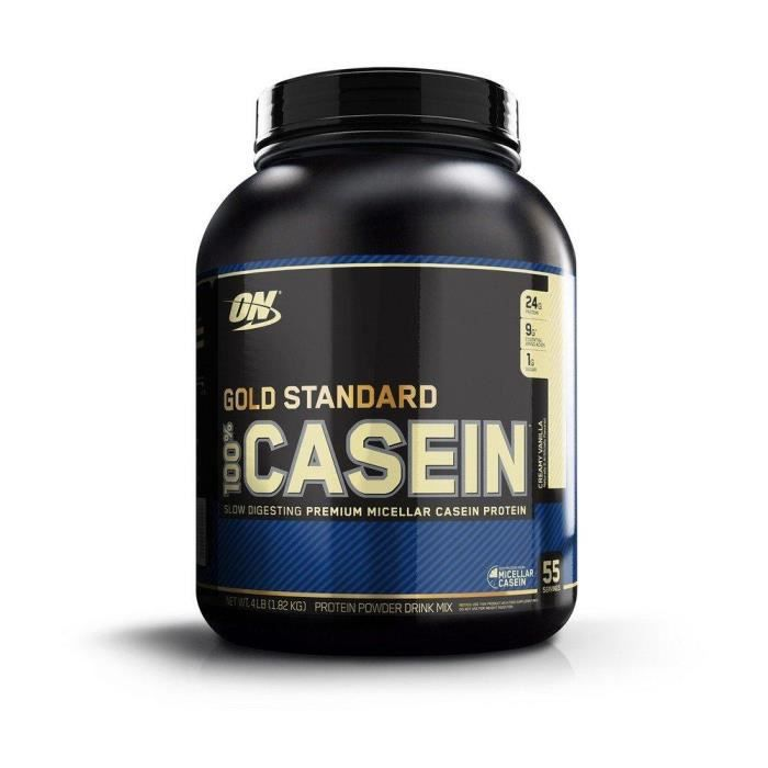 Optimum Nutrition 100% Gold Standard Casein - Vanille Crémeuse, 53 Portions - Caseine proteine, 1,82 kg