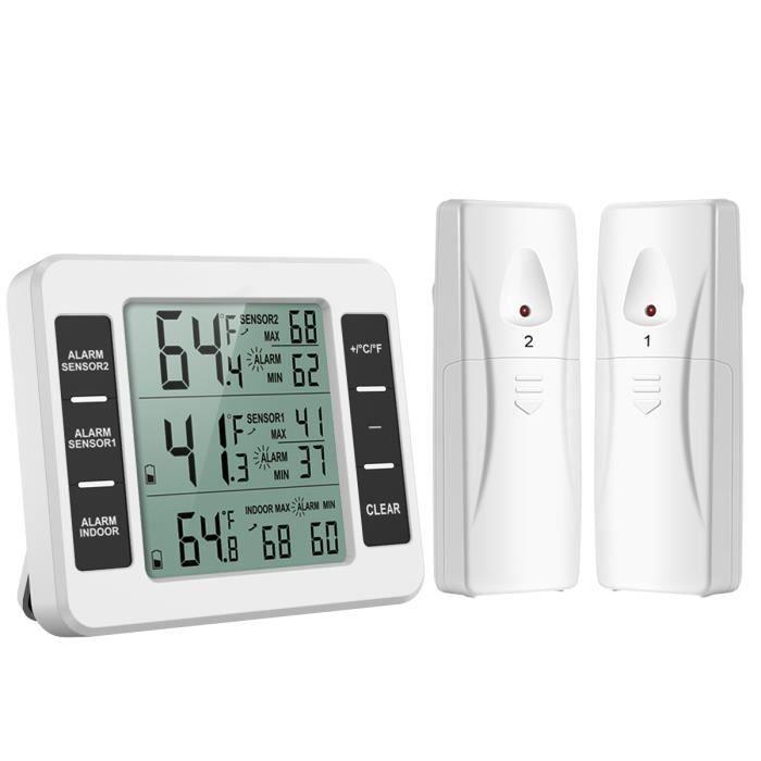 Thermomètre de Frigo Congelateur, Thermomètre de Réfrigérateur sans Fil avec 2 Capteurs, Alarme Sonore, Min/Max, Thermomètre in/Exté