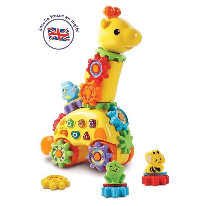 VTech Baby ? Girafe parlanchina, animal interactif qui enseña bilingue anglais, couleurs, formes et animaux, avec roues