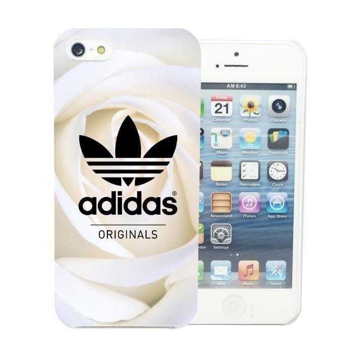 coque iphone 5 5s adidas originals roses blanche a