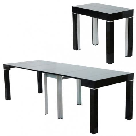 Table console extensible noire laqu e 4 rallonges alesia - Table console extensible fly ...