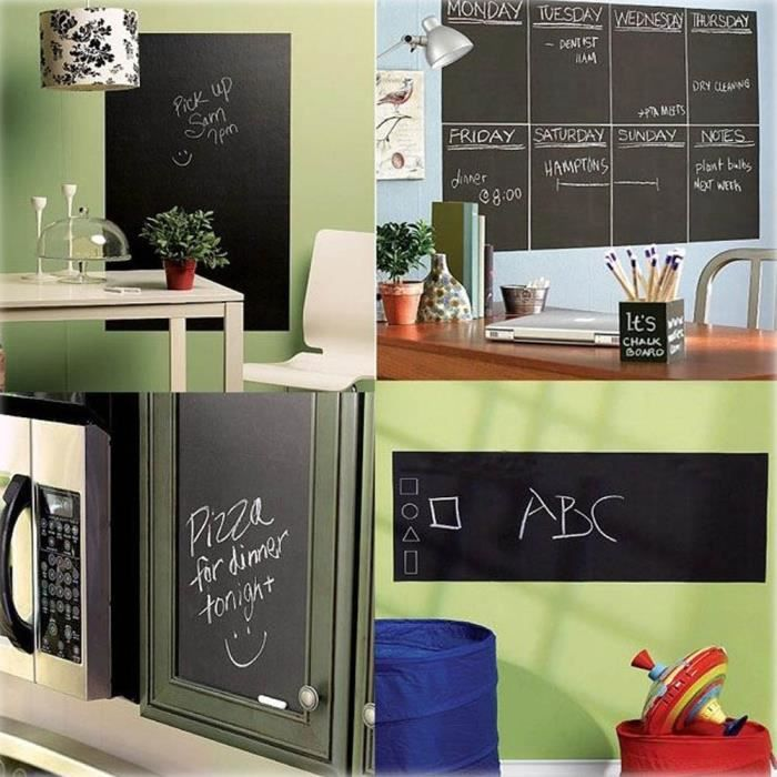 Grand Stickers Tableau Noir Adh/ésif Ardoise Effa/çable Sticker Autocollant Mural 45cm X 100cm Pour L/école//Bureau 45x100cm Noir Accueil